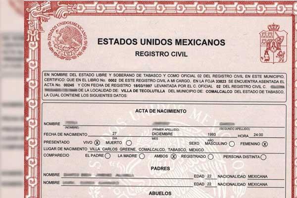 Acta de Nacimiento en México
